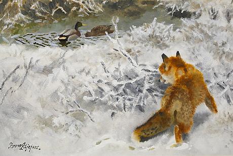 Bruno liljefors, oil on canvas, signed.