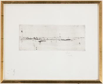 AXEL FRIDELL, torrnålsgravyr, signerad A. Fridell Venedig med blyerts.