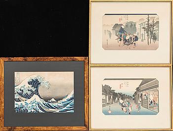 HIROSHIGE +  färgträsnitt, senare avdrag, Japan, 1900-TAL , träsnitt 3 st Japan.