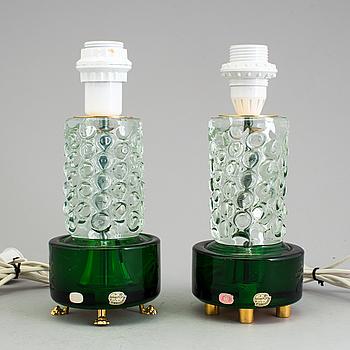 BORDSLAMPOR, ett par, glas, Böhemia Glass, Tjeckoslovakien, 1900-talets andra hälft.