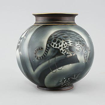 """GUNNAR NYLUND, vas, stengods, """"Flambé"""", Rörstrand, omkring 1900-talets mitt."""