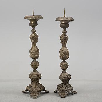 GOLVLJUSSTAKAR, ett par, mässing, 1800-tal.