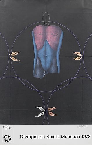 """Affischer, 5 st, """"olympische spiele münchen 1972"""", bl a serge poliakoff."""