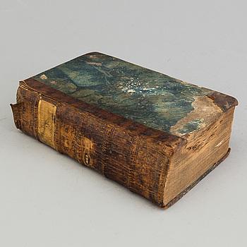 """BOK, """"Tankar wid lediga stunder"""", första delen, av Johan Fredric Kryger. Tryckt i Stockholm 1761."""