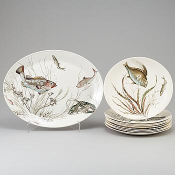 """FISKSERVIS, 10 delar, flintgods, """"Fish"""", Johnson Bros, England, 1900-talets andra hälft."""
