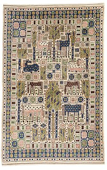 "197. Märta Måås-Fjetterström, A CARPET, ""Hästhagen"", knotted pile, ca 350,5 x 225,5 cm, signed AB MMF."