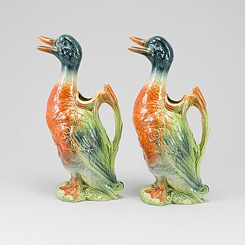 VINKANNOR, ett par, keramik, St. Clément, Frankrike, 1900-talets första hälft.