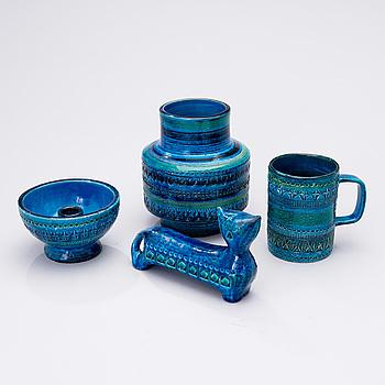 ALDO LONDI, keramik, 4 delar, Rimini blu-serien, 4 delar, Bitossi, Italien 1960-tal.