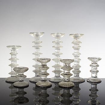 """TIMO SARPANEVA, 8 stycken ljusstakar, """"Festivo"""", glas, Iittala."""