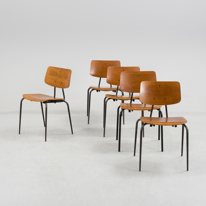 Five Teak Veneered Stackable Chairs From Duba Denmark Mid