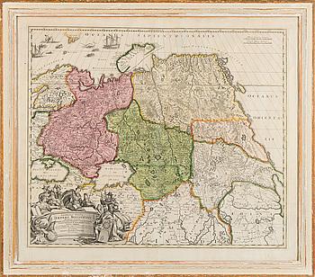KARTA. Imperii Moscovitici. Johann Baptist Homann. 1700-talets mitt.