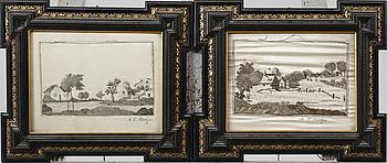 OIDENTIFIERAD KONSTNÄR, 2 st sidenbroderier, signerade A C Noreljus, 1800-tal.