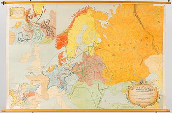 """SKOLKARTA ÖVER EUROPA, """"Svenska Stormaktsväldet och dess krig"""", P.A Norstedt och Söners förlag. Tyckt Stockholm 1946."""