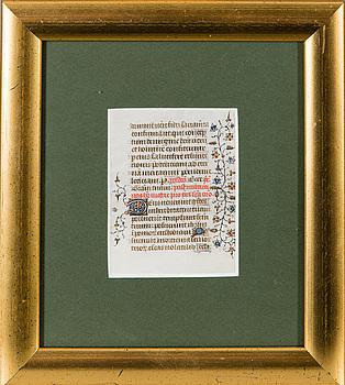 """ILLUSTRERAT MANUSKRIPT, Frankrike ca 1400, från """"Breviarium""""."""
