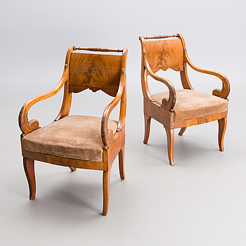 A PAIR OF RUSSIAN ARMCHAIRS, Nikolai I, first half of the 19th century.