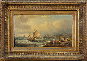 UNIDENTIFIED ARTIST, oil on panel, indistinctly signed, 19th century.