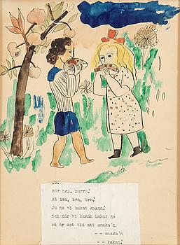 "Sven X:ET ERIXSON, teckningar 7 st, en med signering, ""Baka kaka""."
