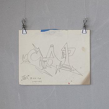 """""""CAP"""", ROBERT KARDASH, blyertsteckning, signerad och daterad 2007.05.22."""