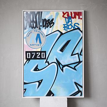 """""""SEEN """", spray på duk, signerad och daterad 2007."""