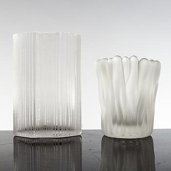 TAPIO WIRKKALA, 2 vaser av glas, Ittala, Finland.