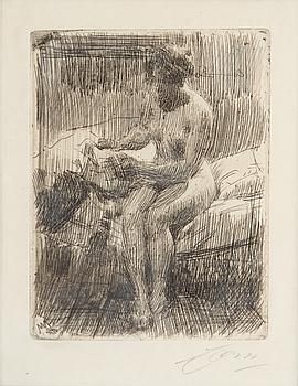 ANDERS ZORN, etsning, 1910, signerad med blyerts.
