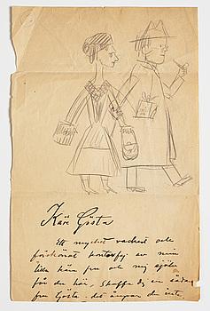 CARL KYLBERG, blyerts samt tusch på papper. Troligtvis utförd under 1920-talet.