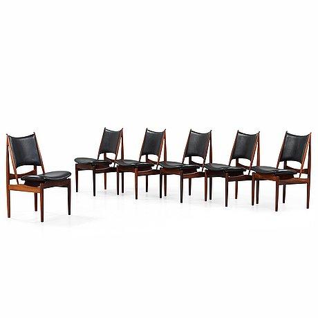 Finn juhl, a set of six finn juhl 'egyptian chairs' in rosewood and black original upholstery, by niels vodder, denmark 1950-60's.