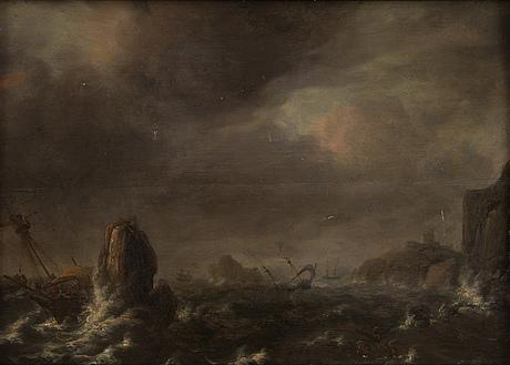 Jan porcellis, tillskriven, stormande hav