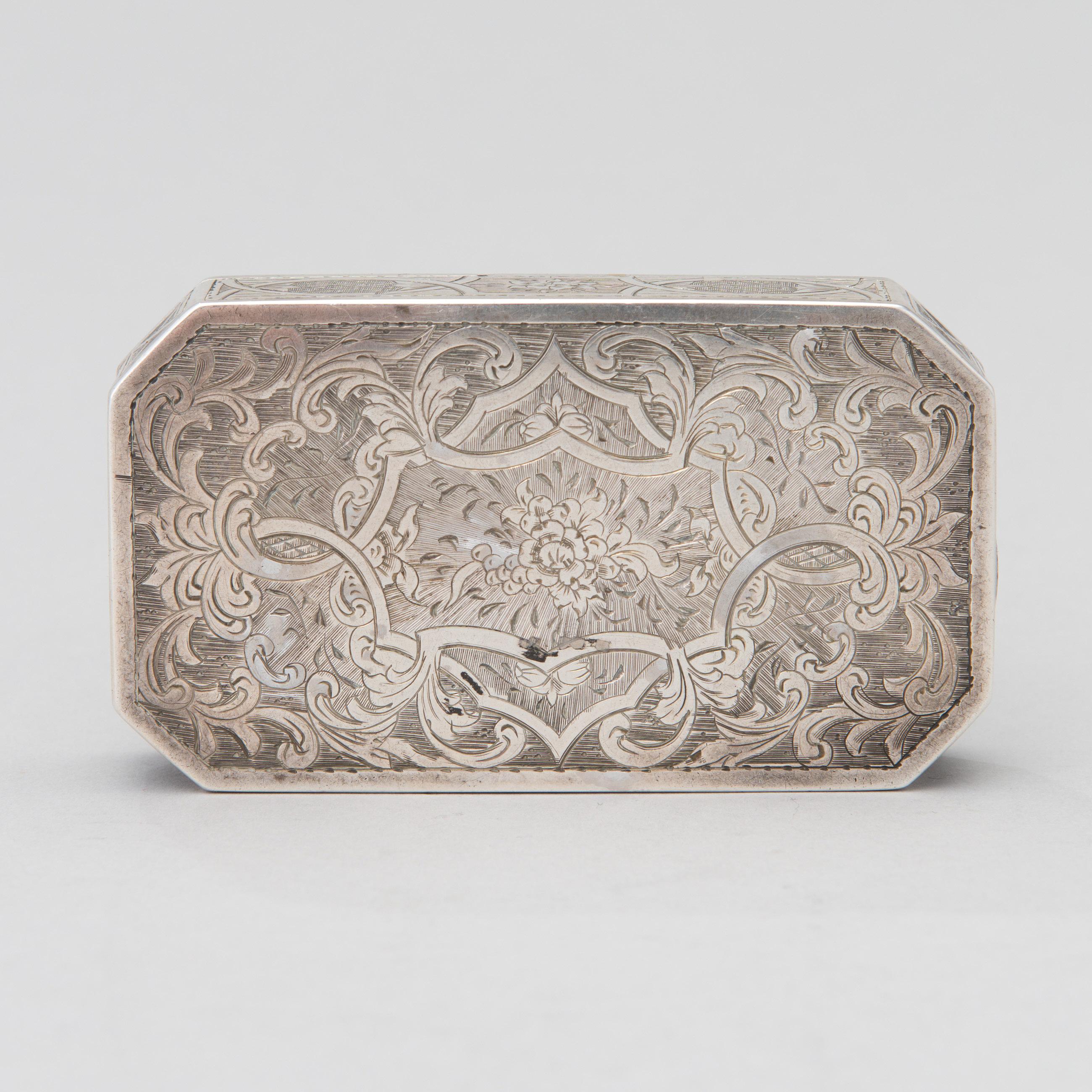 a russian snuff box silver moscow  goldsmith nmishailov