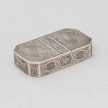 SNUSDOSA, silver, Moskva 1856?, guldsmed N.Mishailov, kontrollmästare Viktor Sasikov 1855-1888.