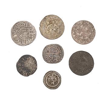 MYNT, 7 stycken, silver, bland annat Sverige, medeltida.