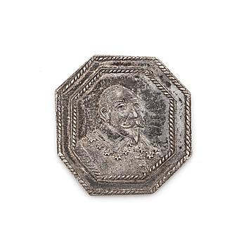 """MEDALJ, silver, """"Tyska protestanternas glädjebetygelser över Gustaf Adolfs segerrika kamp"""", 1632. Vikt ca 2,5 gram."""