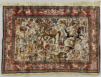 A Ghom souf rug, silk, 155 x 107 cm.