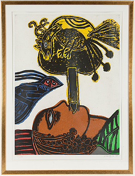 BEVERLOO CORNEILLE, Färgetsning, signerad Corneille, daterad 92-94 och numrerad 12/60 med blyerts.