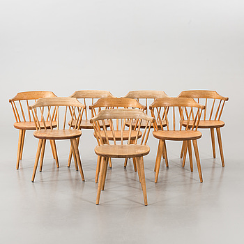 "A SET OF EIGHT ""SMÅLAND"" CHAIRS DESIGNED BY YNGVE EKSTRÖM."