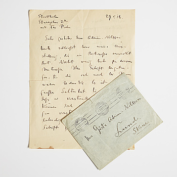 WASSILY KANDINSKY, LETTER, from Wassily Kandinsky in Stockholm to GAN (Gösta Adrian-Nilsson) in Lund, dated 29 II (19)16 Envelope enclosed.