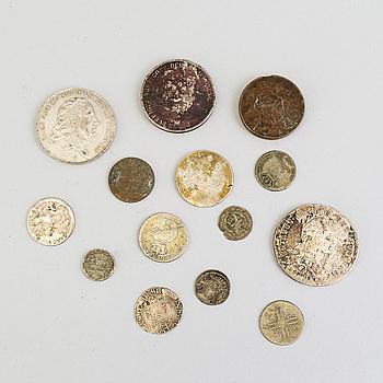 MYNT, 14 stycken, silver och koppar, Sverige, 16/1800-tal.
