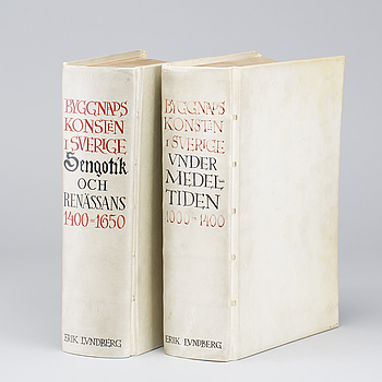 """BÖCKER, 2 vol, """"Byggnadskonsten i Sverige"""", Erik  Lundberg Nordisk Rotogravyr Stockholm 1940."""