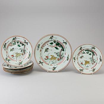 TALLRIKAR , 6 st samt FAT, porslin, Kina, Qianlong (1736-95).