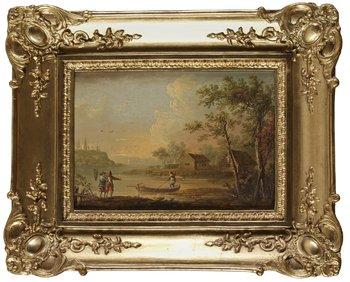 241. JOHAN PHILIP KORN, Ett par. Insjölandskap med fiskare. Pannå, vardera 15 x 21,5 cm. Äldre bronserade ramar.