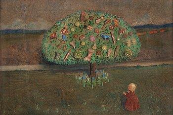 "321. IVAR AROSENIUS, ""Lillan under leksaksträdet""/""Saga"" (Lillan underneath the Toy Tree/Fairytale)."