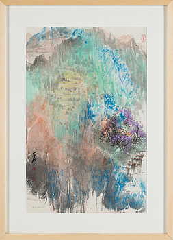 MÅLNING, 3 st, av Gu Daming (1960-). Berg och flodlandskap.
