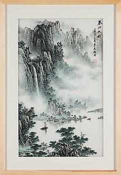 A painting by Yuan Fa Wang, 'The shade of sail on the spring river' (chunjiang fanying), signed.