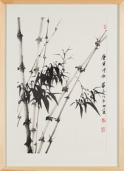 A painting by An qi (1966-), 'Bamboo', signed and dated 2010.
