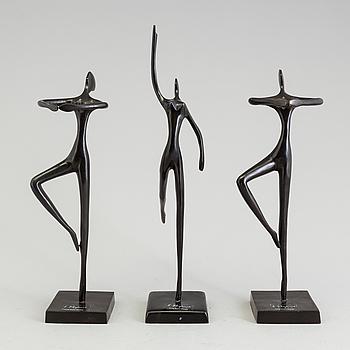 SKULPTURER, 3 stycken, brons, design Bodrul Khalique.