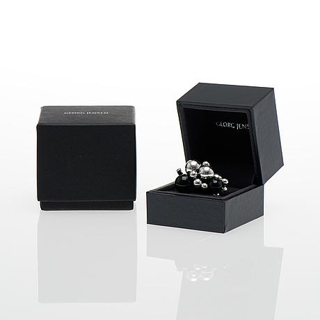 "Georg jensen, ring, ""moonlight grapes"", silver, black agate."