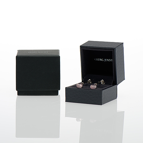 "Georg jensen, a pair of earrings, ""dew drops"", rose quartz, silver."