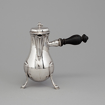 COFFEE POT, silver, French stamps, 18th century.
