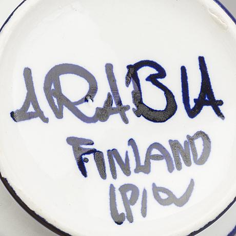 "Ulla procopé, tekoppar med fat, 5 st, porslin, ""fiesta"", arabia, 1970-tal."