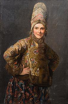EFTER KARL VENIG, olja på duk, 1800-tal, Ryssland.